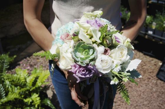little miss lovely floral design // white purple teal bouquet with succulent // ocean city md wedding florist