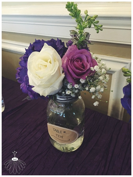 purple and white mason jar with burlap // little miss lovely floral design // ocean city md wedding florist