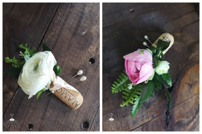 little miss lovely floral design // wine cork boutonniere with white ranunculus // Bordeleau Vineyard Winery