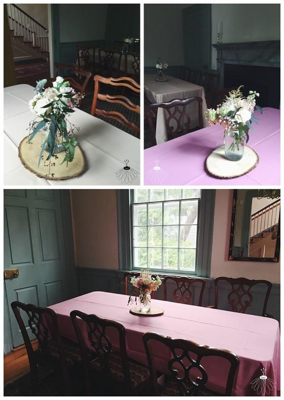 little miss lovely floral design // poplar hill mansion wedding // mason jar centerpieces