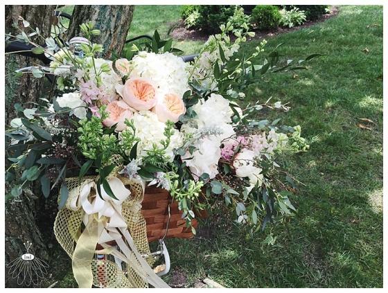 little miss lovely floral design // ocean city maryland wedding florist // poplar hill mansion wedding // republic bike with flowers