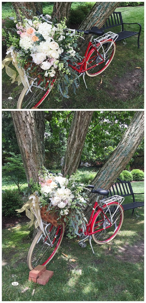 little miss lovely floral design // ocean city maryland wedding florist // poplar hill mansion wedding // republic bike with flowers