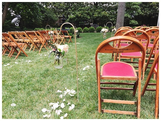 little miss lovely floral design // ocean city maryland wedding florist // poplar hill mansion wedding // mason jars on hooks for ceremony