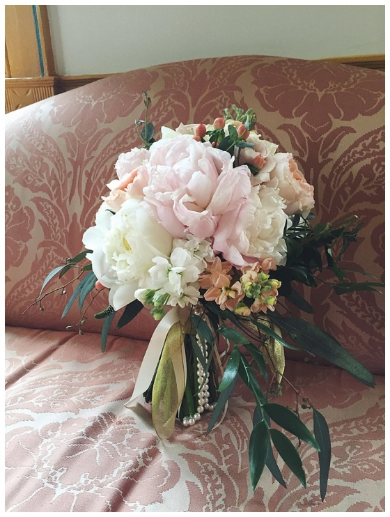 little miss lovely // salisbury maryland wedding florist // peony and garden rose bouquet // poplar hill mansion wedding