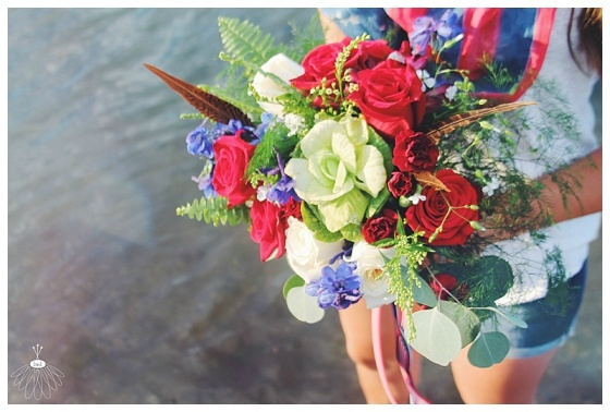 little miss lovely floral design // fourth of july wedding red white and blue bouquet // ocean city maryland