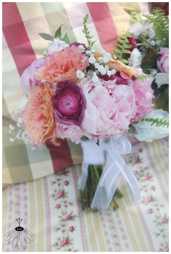 little miss lovely floral design // ocean city maryland wedding florist // pink peony and garden rose bridesmaid bouquet