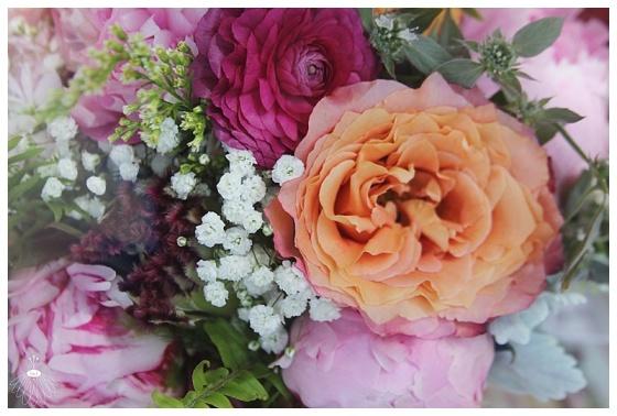 little miss lovely floral design // pink peony ranunculus and orange garden rose bouquet // berlin maryland wedding florist
