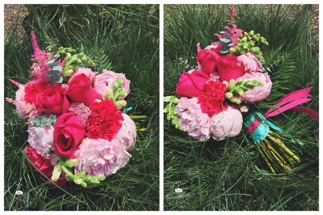 little miss lovely floral design // pink and turquoise bridal bouquet // ocean city maryland beach wedding
