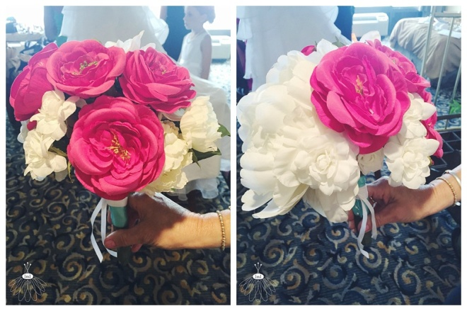little miss lovely floral design // ocean city maryland florist // pink and white artificial wedding bouquet // silk flowers tribute
