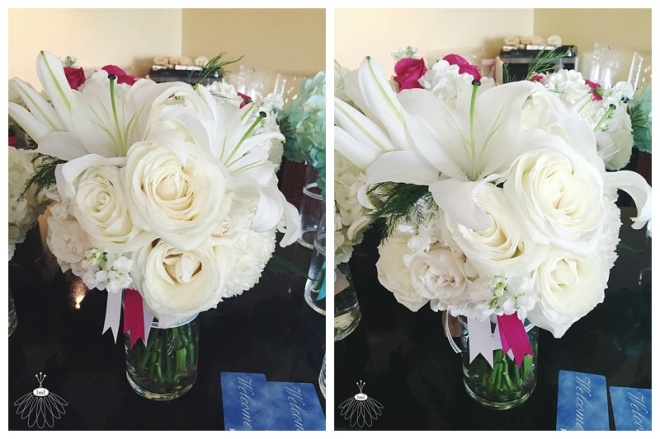 little miss lovely floral design // white lily bridal bouquet // pink and white wedding flowers