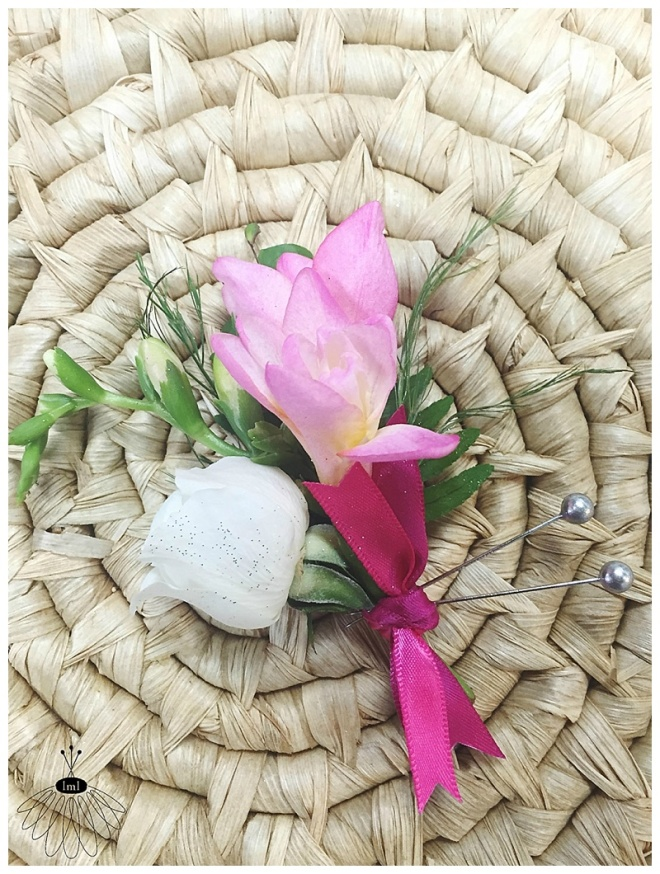 little miss lovely floral design // pink freesia and ivory spray rose boutonniere