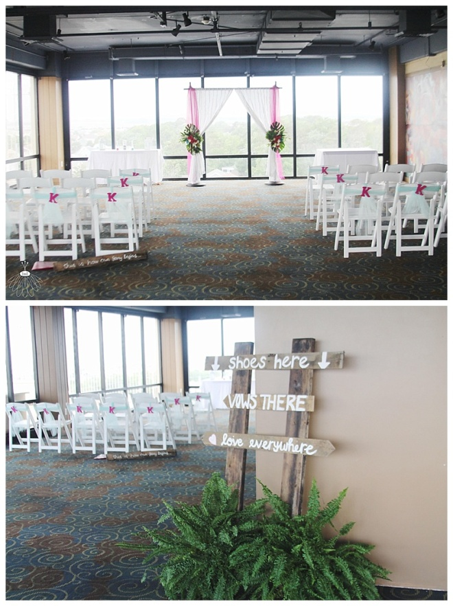 little miss lovely floral design // tropical wedding ceremony alter // ocean city maryland peaky's wedding