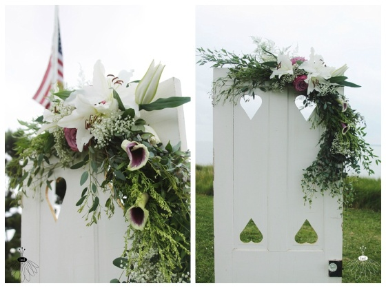 little miss lovely floral design //  vintage antique door ceremony backdrop with garland // ocean city maryland florist