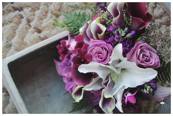 little miss lovely floral design // dark purple and white  bridal bouquet with lilies and roses // ocean city maryland wedding florist