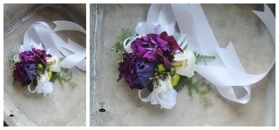 little miss lovely floral design // purple and white stock and pitcher plant wrist corsage // ocean city maryland florist