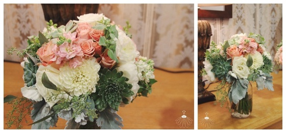 little miss lovely floral design // heritage shores wedding // peach white mint bouquets
