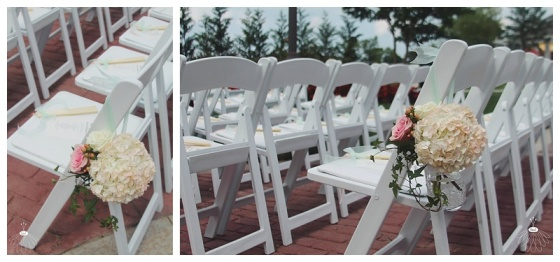 little miss lovely floral design // aisle flowers hanging form chairs