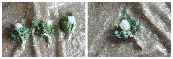 little miss lovely floral design // mint succulent with ivory rose boutonniere