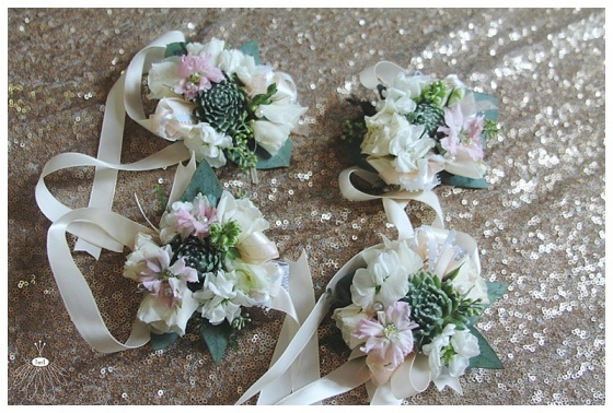 little miss lovely floral design // succulent wrist corsages for mothers