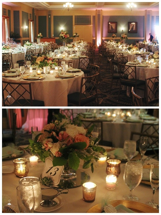little miss lovely floral design // heritage shores country club wedding // pink peach mint garden wedding flowers