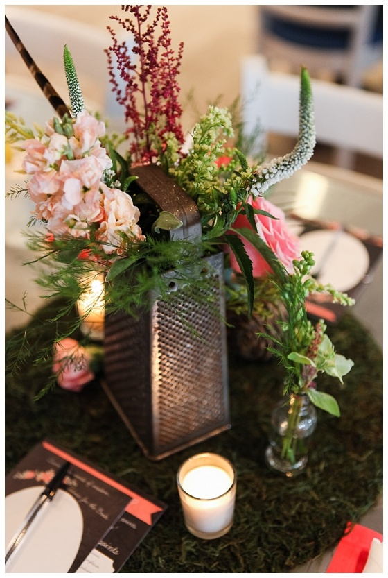 little miss lovely floral design // kitchen themed bridal shower // cheese grater flower centerpiece