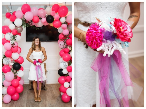 little miss lovely floral and event design // ocean city maryland bridal shower // balloon and flower archway