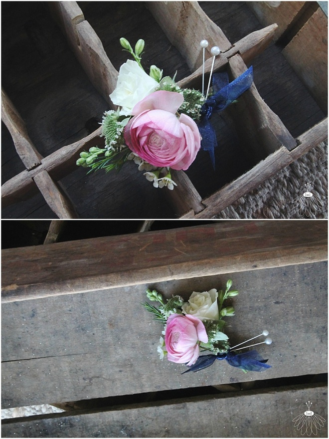 little miss lovely floral design // pink ranunculus boutonniere // pink navy and white wedding flowers