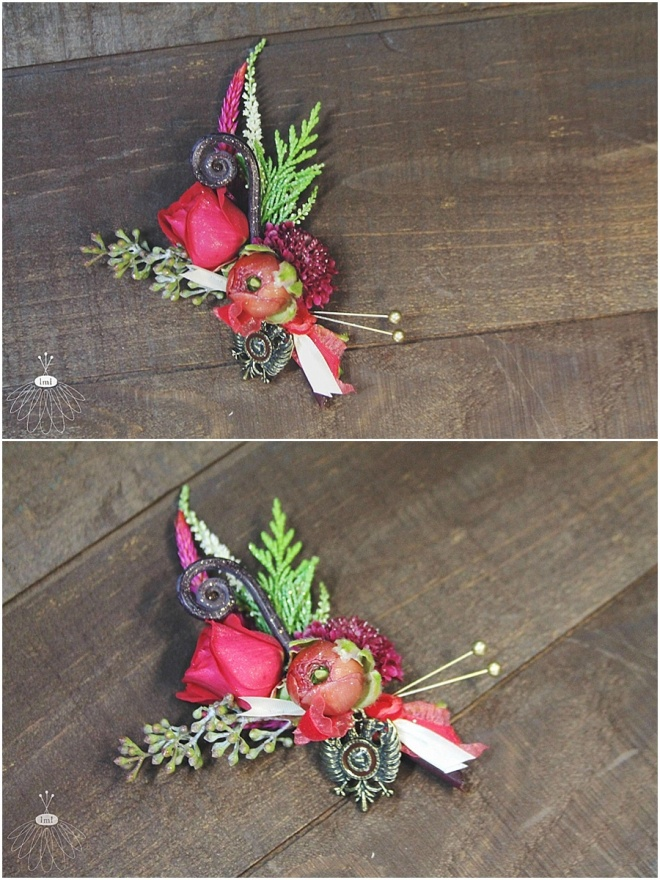 little miss lovely floral design // red rose ranunculus boutonniere