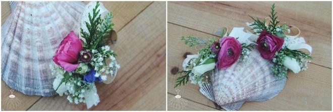 little miss lovely floral design // pink ranunculus wrist corsage
