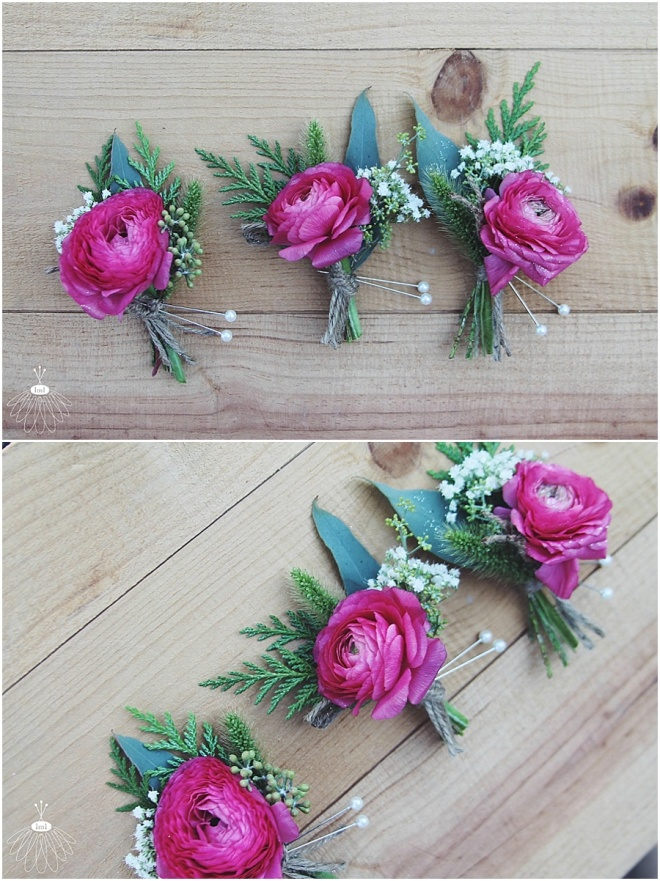 little miss lovely floral design // pink ranunculus boutonnieres // ocean city maryland wedding
