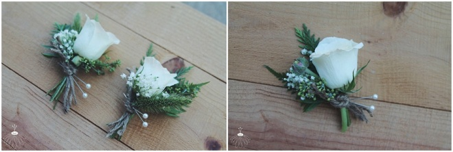 little miss lovely floral design // white spray rose and baby's breath boutonnieres