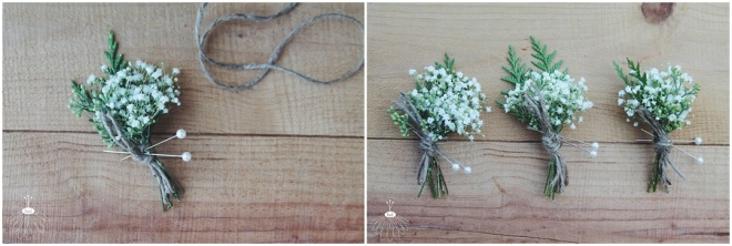 little miss lovely floral design // baby's breath and twine boutonnieres