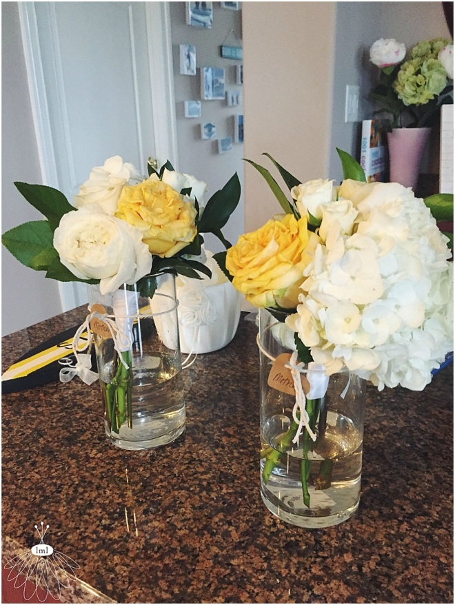 little miss lovely floral design // mother posies of white hydrangea and yellow roses