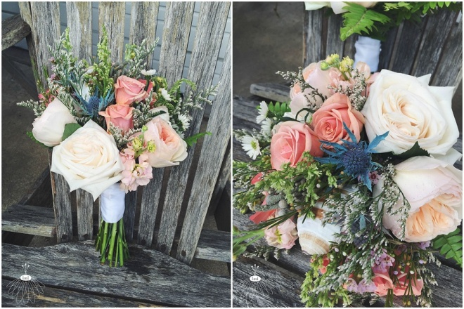 little miss lovely floral design // ocean city maryland beach wedding // coral garden rose and wildflower bouquet with seashells