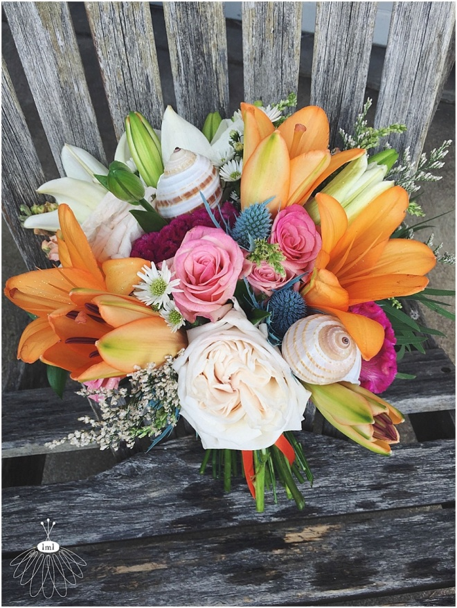 little miss lovely floral design // ocean city maryland wedding florist // orange and pink beach wedding bouquet with seashells