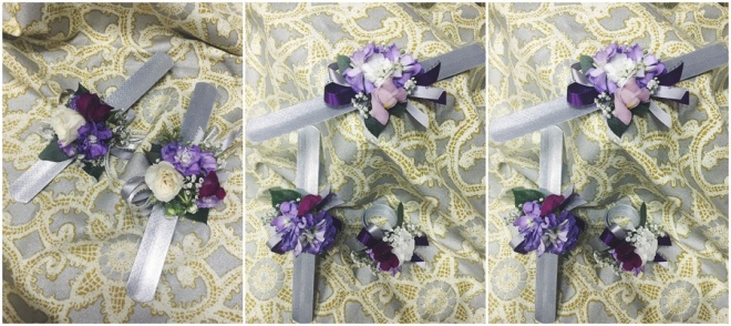 little miss lovely floral design // purple white silver wrist corsage