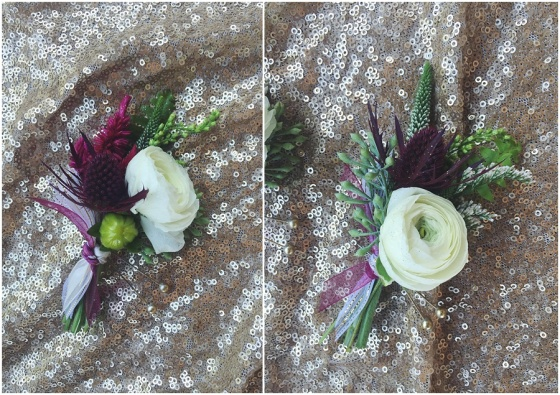 little miss lovely floral design // burgundy, ivory & sage boutonnieres