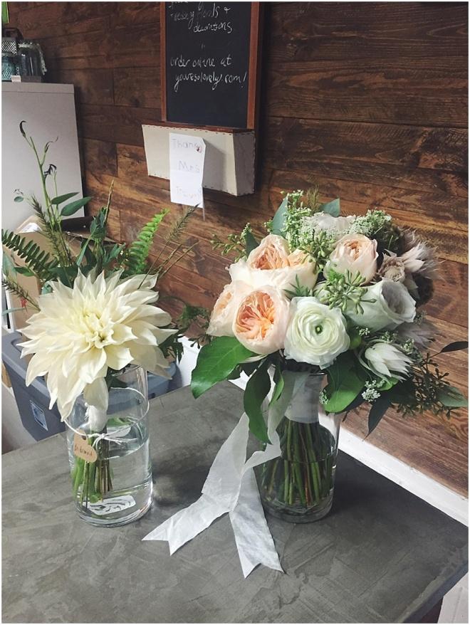 little miss lovely floral design // ocean city maryland wedding florist // romantic blush dahlia bouquet