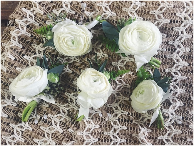 little miss lovely floral design // ocean city maryland wedding florist // ivory ranunculus boutonnieres