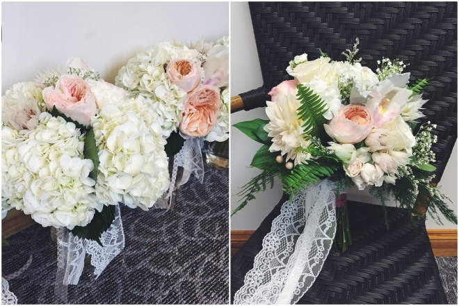 little miss lovely floral design // ocean pines wedding // peach blush and white bouquet
