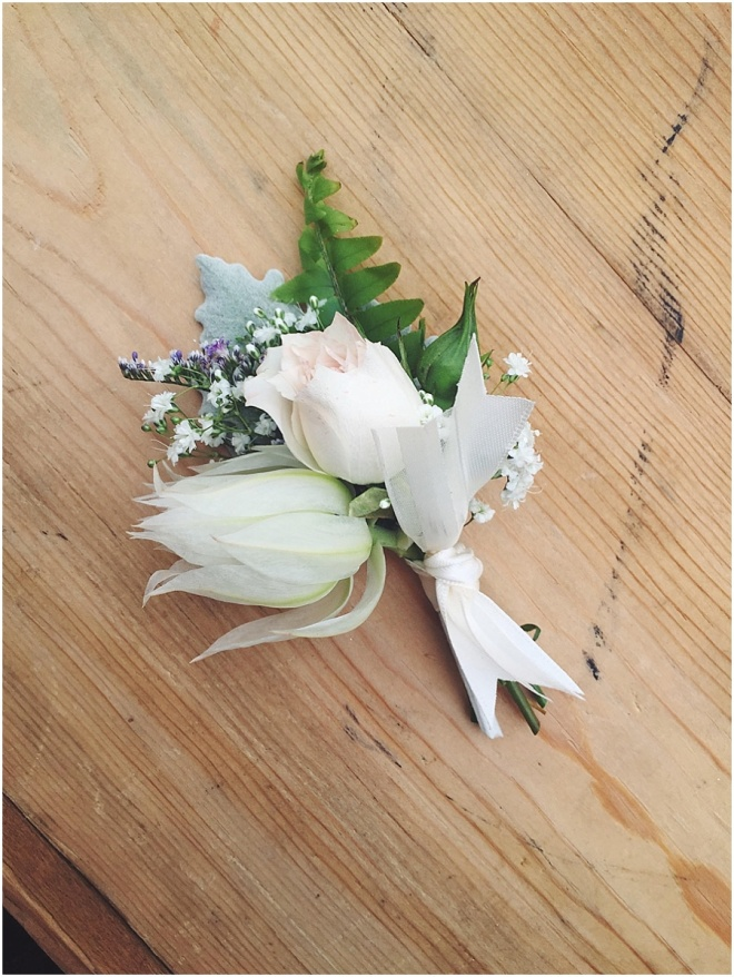 little miss lovely floral design // ocean city maryland wedding florist // blushing bride protea boutonniere