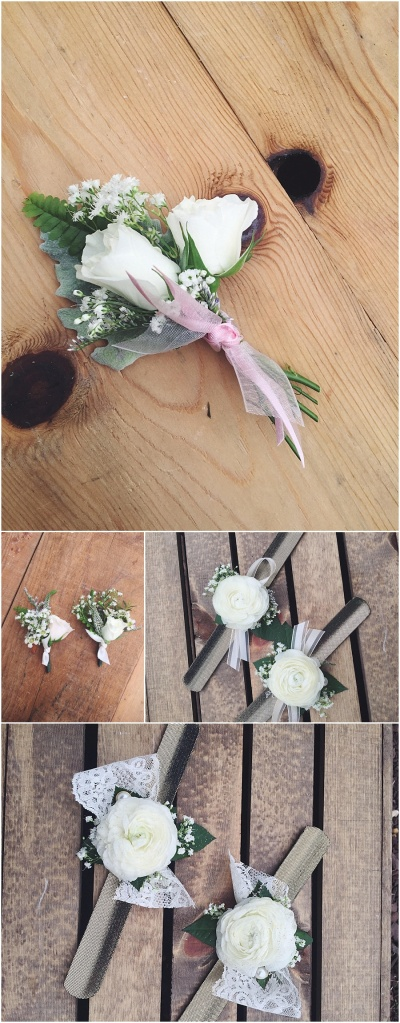 little miss lovely floral design // spray rose boutonniere & wrist corsages