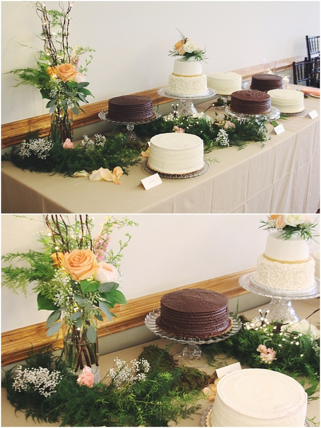 little miss lovely floral design // cake table floral arrangement and garland