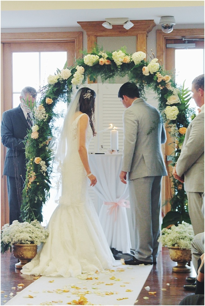 little miss lovely floral design // OP yacht club // floral archway indoor ceremony