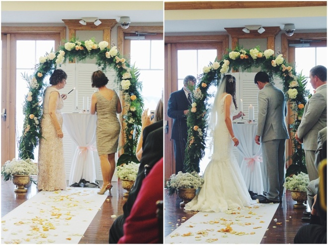 little miss lovely floral design // ocean pines yacht club wedding // floral archway
