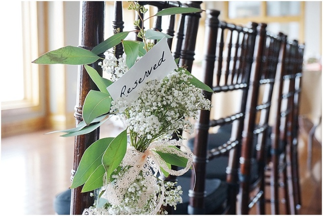 little miss lovely floral design // ocean pines yacht club wedding // babys breath eucalyptus pew rows