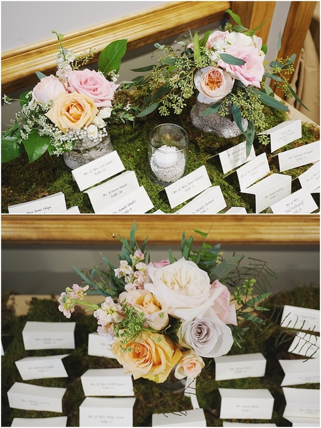 little miss lovely floral design // escort card table with moss