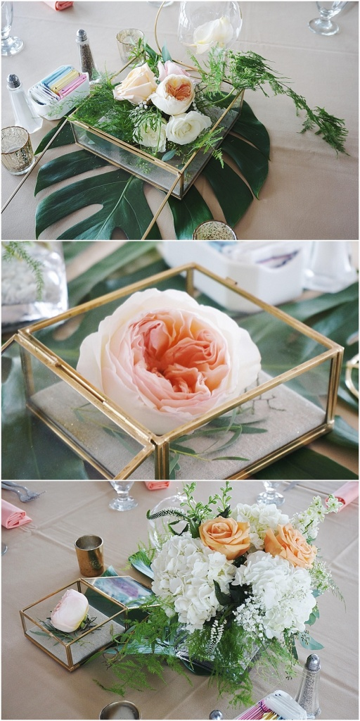 little miss lovely floral design // ocean pines yacht club wedding // peach blush shadow box centerpiece with pearls