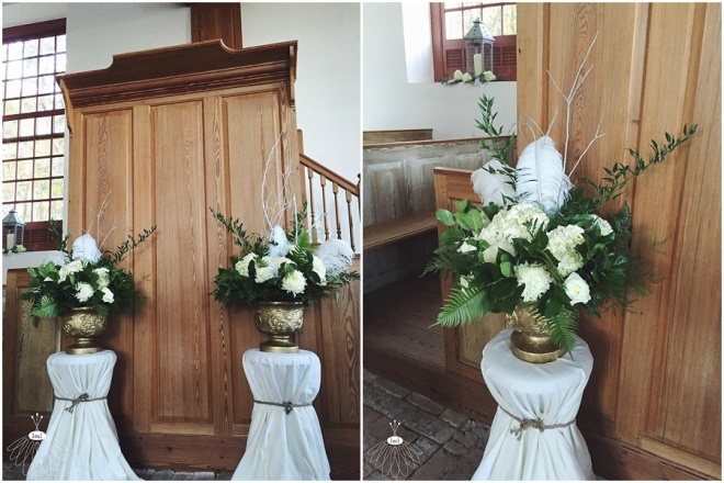 little miss lovely floral design // historic st martins church event // all white flower arrangements