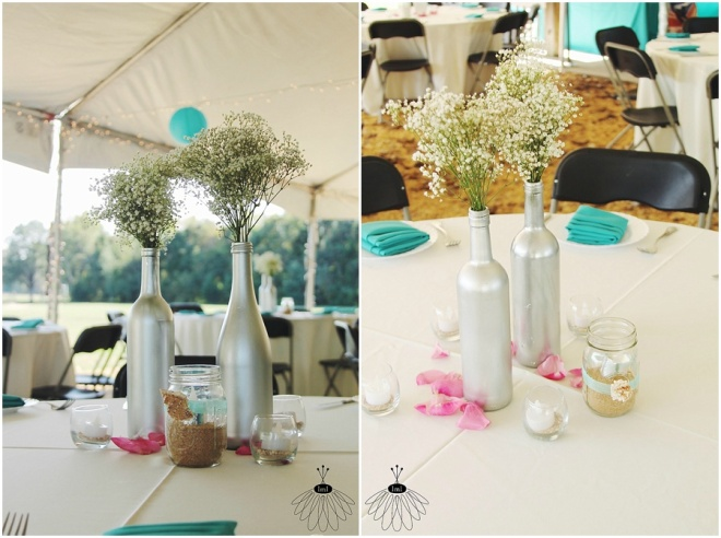 little miss lovely floral design // sotterley plantation wedding // wine bottle centerpieces babys breath